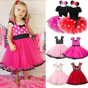 Baby Kids Girls Minnie Mouse Ballet Tutu Dress Birthday Party Princess Costume