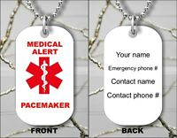MEDICAL ALERT PACEMAKER EMERGENCY PERSONALIZED DOG TAG PENDANT NECKLACE -olk8Z