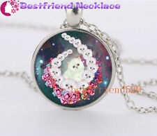 NEW Cute Galaxy White Cat Glass Silver Necklace for men woman Jewelry#YZ42