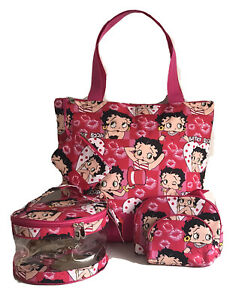 Betty Boop Roll Style Small Pink Glossy Bag with Betty Motif