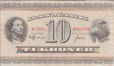 Denmark Banknote P44r10-5769 10 Kroner 1970 Prefix B1 Suffix 0J, Replacement, VF