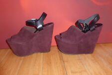Superb Office  Platform burgundy suede leather Sandals  shoes  EU 39 UK 6