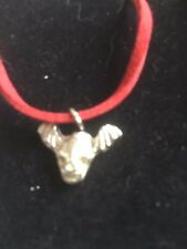 """Skull Bat TG329A Made In Fine English Pewter On 18"""" Red Cord Necklace"""