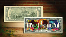 Life Is Beautiful 100 Year Solar Eclipse $2 U.S Banknote Signed Rency Art Banksy