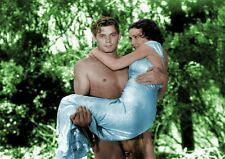 JOHNNY WEISSMULLER & MAUREEN O'SULIVAN   TARZAN  colour A4  printed poster