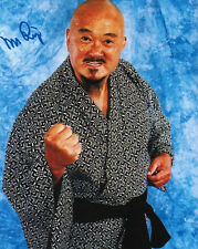 Mr Fuji signed 8x10 color wrestling photo HOF WWF WWE (died 2016)