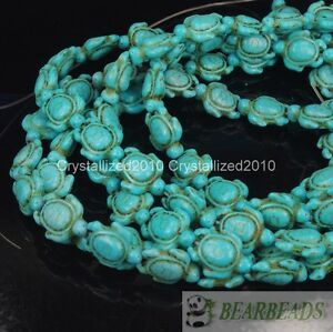 """Blue Howlite Turquoise Carved Turtle Spacer Loose Crafts Beads 14mm x 17mm 16"""""""