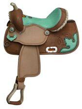 "13"" Youth Kids Teal Alligator Western Barrel Racing Trail Pony Show Saddle SQHB"
