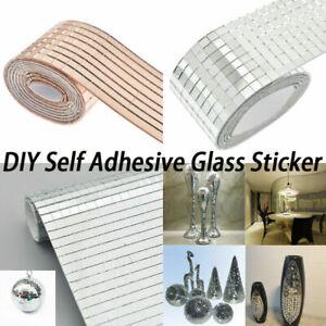 1 Rolle Spiegel Mosaik Fliesen Selbstklebende Mini Quadrat Glas DIY Handwerk New