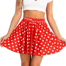Women's High Waisted Polka Dot Skirt Stretchy Swing Flared Mini Skirt Costumes