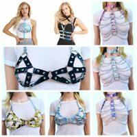 Sexy Women's PVC Halter Body Bust Harness Belt Chain Tassels Costume Clubwear