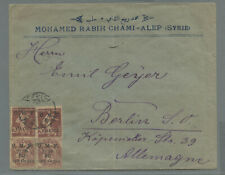 Syria 1921 cover  French Occupation  bearing 4 surcharged stamps Halep > Germany