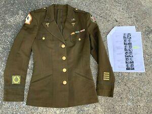 Original WW2 US Army Nurse Officer IDd Uniform w/North Africa Theater Made Patch