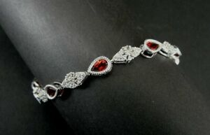 "Bracelet Silver Tennis Red Garnet Stones Sterling 925 Cubic Zirconia 7 1/2"" Long"