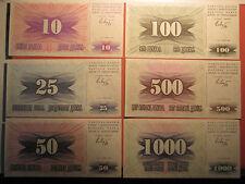6 Banknote BOSNA I HERCEGOVINA 1992 Paper Money 10 25 50 100 500 1000 Dinara UNC