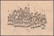 Mughal Miniature Painting Rare Black Ink Handmade Moghul Procession Indian Art