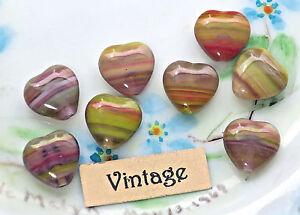 Vintage Heart beads Red Hearts Glass Czech Valentines 10mm Purple Stripe (834)