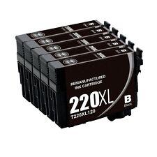 5 Pack Black REMAN T220XL Ink FOR Epson WorkForce WF-2630 WF-2650 WF-2660