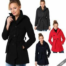 Button Hip Length Military Coats & Jackets for Women