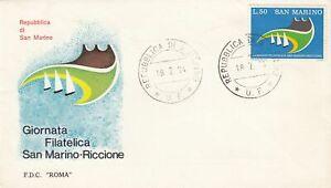 San Marino Scott 842 FDC - 1974 Stamp Day