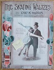 1915 SHEET MUSIC ROLLER SKATING DANCING ART NOUVEAU TRIM SKATERS WALTZ FREE SHIP