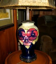 Moorcroft Pottery - RARE 1916 - 1918 Pansy Design, Working Lamp, Burslem Marks
