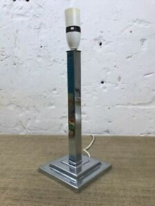 STUNNING ANTIQUE ART DECO CHROME STEPPED BASE TABLE LAMP