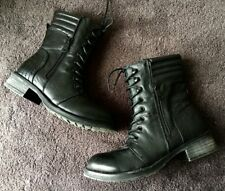 Blk Leather Ankle Military Combat Boot Hot Topic Goth Punk Moto Call it Spring