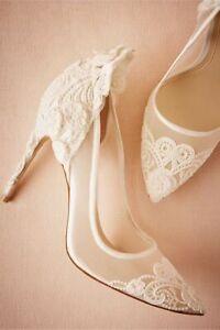 BHLDN WEDDING BRIDAL 9 PUMP LACE SATIN MESH VINCE CAMUTO VICTORIA $180 EUC