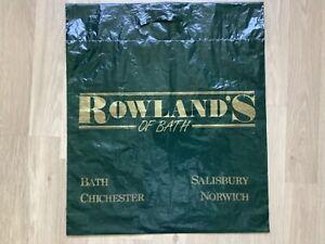 Vintage Retro Rowlands of Bath Clothing Green Plastic Carrier Bag 45cm x 39cm