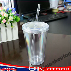 500ml Tumbler Cup With Straw Reusable Double Wall Cold Drink Tea Milk Mug