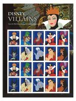 USA 2017 Disney Villains Forever Stamps Sheetlet of 20 Self-adhesive Mint MUH