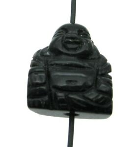 Buddha von oben gebohrt Obsidian schwarz 2 cm