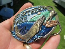 Gorgeous LG. Vintage 1988 COLORED ENAMEL NORTHERN PIKE Belt Plate, Buckle, Gift