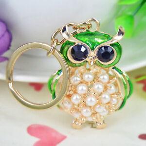 Gold Green Owl Bird Animal Pearl Clear Crystal CZ Keyring Chain Handbag Charm