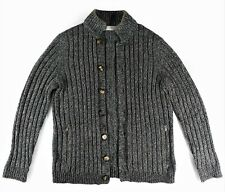 $3250 BRUNELLO CUCINELLI Ribbed Gray 100% Cashmere Cardigan Sweater 50 IT Medium