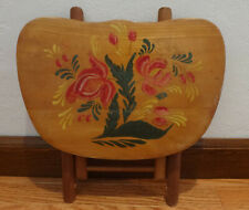 Vintage Nevco Fold N Carry' wooden step stool 1950's Painted Flowers Yugoslavia