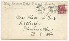 Canada Scott #106 Tied on Cover King Edward Hotel Exhibition Cancel Toronto 1912