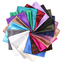 Satin Solid Silk Scarf Hijab Plain Shiny Soft Large Square Head Neck Wrap 90x90