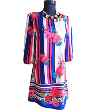 Casual Retro 50s 60s Embroidery Print Floral Striped Shift Dress sz 12 14 AU16