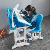 Height Adjustable Kids Children's Study Desk and Chair Set Child Table W/Lamp US