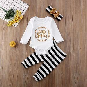 3PCS Newborn Baby Girl Little Sister Tops+Striped Leggings Pants Clothes Sets