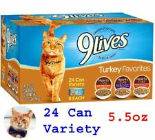 9 Lives Turkey Favorites Wet Cat Food Variety (24 Pack), 5.5 Oz NEW....