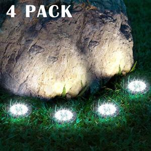 4x 20LED Solar Bodenscheibe Leuchten Außen Landschaft Beleuchtung für Garten Weg