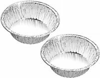 50 x NEW SMALL DEEP FOIL PIE DISHES FRUIT CAKE CASES TIN ROUND DISH BAKING
