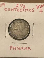 PANAMA 1929 2 1/2 Half CENTESIMOS Coin 🇵🇦 VF+
