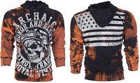 ARCHAIC by AFFLICTION Men Hoodie Sweat Shirt Jacket RACER Biker USA Flag UFC $78
