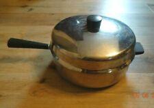 "RARE FARBERWARE 6 QT. Aluminum Clad Stainless Pan w/Lid and Helper Handle (12"")"