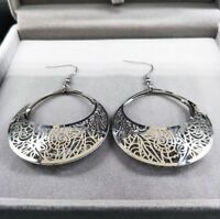 Große Damen Ohrringe Ohrhänger Creolen Edelstahl Herz Statement Geschenk-Idee