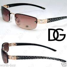 DG Rimless Small Rectangular Womens Sunglasses Shades Classic Brown Retro Frame